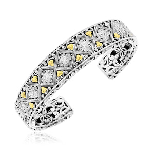 18k Yellow Gold & Sterling Silver Byzantine Diamond Embellished Open Cuff