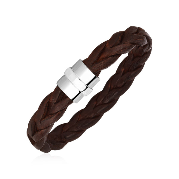 Wide Braided Brown Leather Bracelet with Sterling Silver Clasp