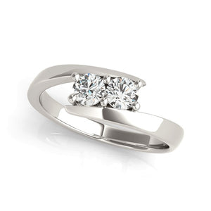 14k White Gold Round Two Stone Common Prong Diamond Ring (1/2 cttw)