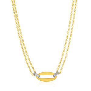 14k Yellow Gold and Diamond Necklace with Gold Center Link (1/10 cttw)