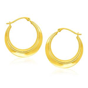 14k Yellow Gold Round Rope Texture Hoop Earrings