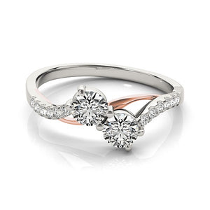Two Stone Diamond Ring with Curved Band in 14k White And Rose Gold (5/8 cttw)