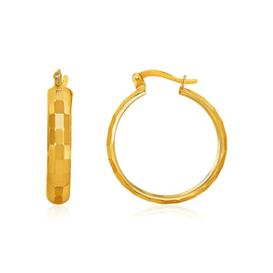 14k Yellow Gold Geometric Textured Hoop Style Earrings