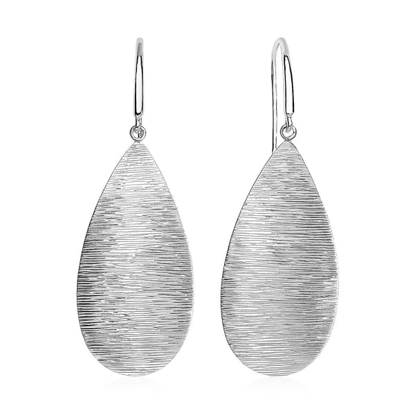 Textured Teardrop Motif Drop Earrings in Sterling Silver