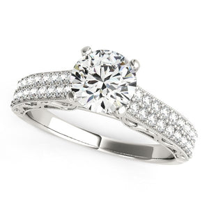 14k White Gold Pronged Diamond Antique Style Engagement Ring (1 1/3 cttw)