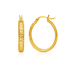 14k Yellow Gold Hammered Oval Hoop Earrings