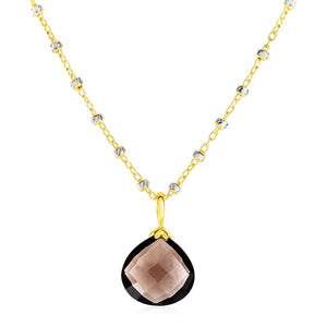 Smokey Quartz Pendant with Yellow Finish in Sterling Silver