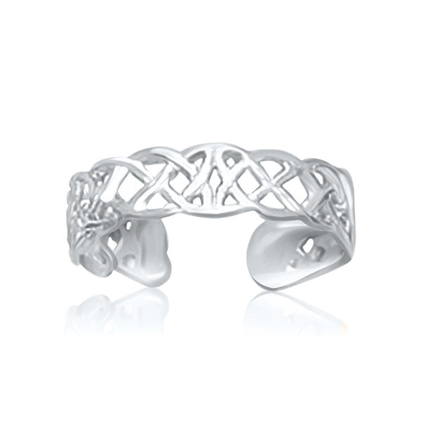 14k White Gold Toe Ring in a Celtic Knot Style