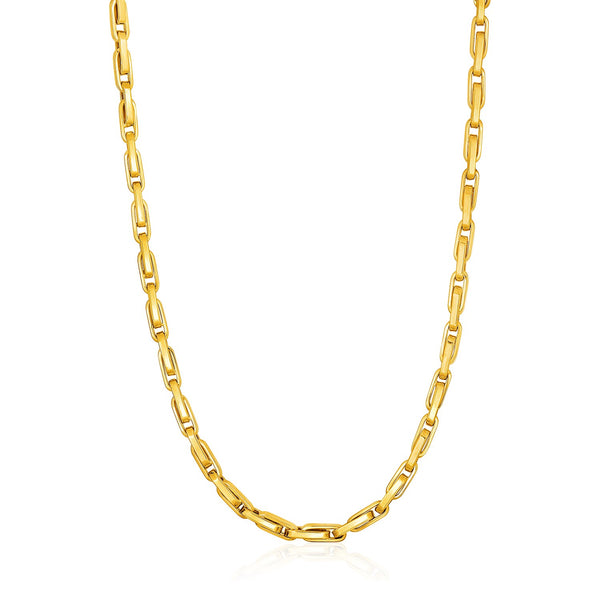 Necklace with Long Oval Links in 14k Yellow Gold