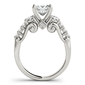 14k White Gold 3 Stone Antique Design Diamond Engagement Ring (1 3/4 cttw)
