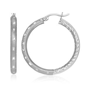 Sterling Silver Star Textured Tube Style Round Hoop Earrings