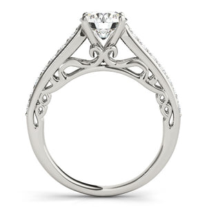 14k White Gold Unique Detailing Diamond Engagement Ring (1 1/3 cttw)