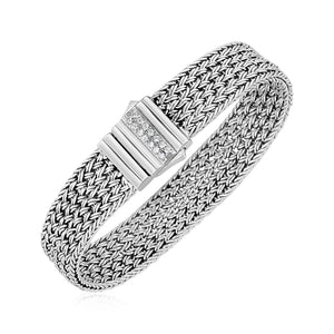 Woven Rope Bracelet with White Sapphire Accented Clasp in Sterling Silver