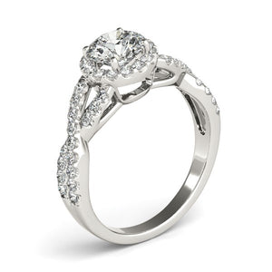 14k White Gold Entwined Split Shank Diamond Engagement Ring (1 1/2 cttw)
