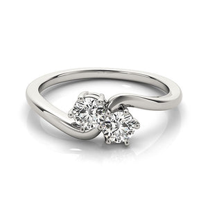 Solitaire Two Stone Diamond Ring in 14k White Gold (1/2 cttw)