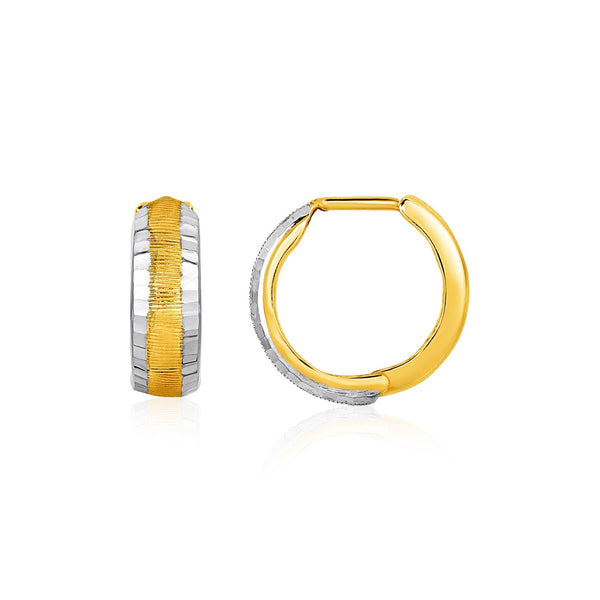 Two-Tone Reversible Snuggable Earrings in 10k Yellow and White Gold