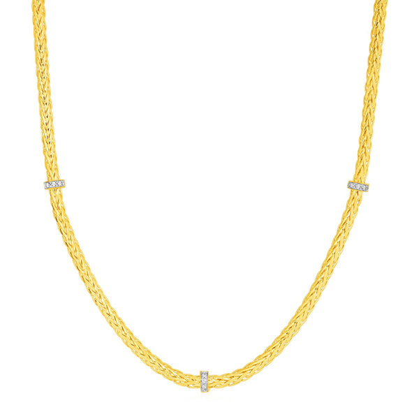 Woven Rope Necklace with Diamond Accents in 14k Yellow Gold