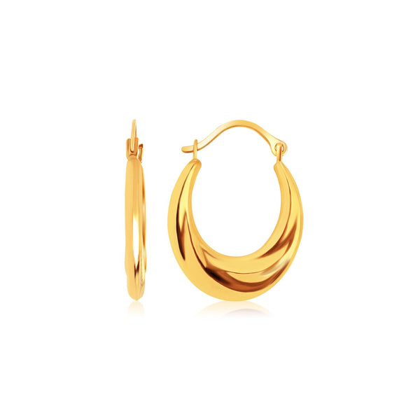 10k Yellow Gold Graduated Oval Hoop Earrings