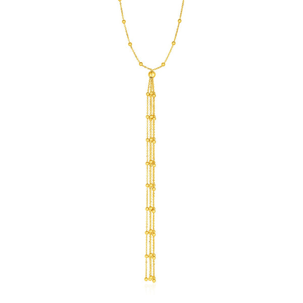 Lariat Necklace with Beads and Tassels in 14k Yellow Gold
