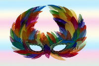 "Gay Pride Rainbow ""Raven"" Feather Mask"