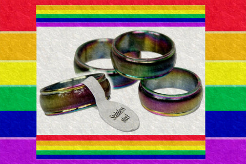 "Gay Pride Rainbow ""Light"" Ring $9.95▼"