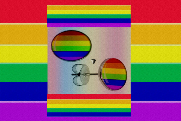"Gay Pride Rainbow ""Flag"" Stud Earrings $12.95 A Pair▼"