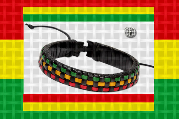 "One Love Rastafari ""Checkered Woven"" Leather Bracelet"