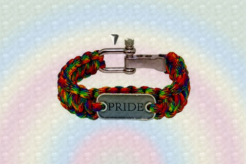 "Gay Pride ""Metal Tag"" Rainbow Paracord Bracelet $12.95▼"
