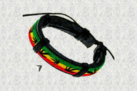 "Free Spirit Rastafari ""Leaf"" Leather Bracelet"