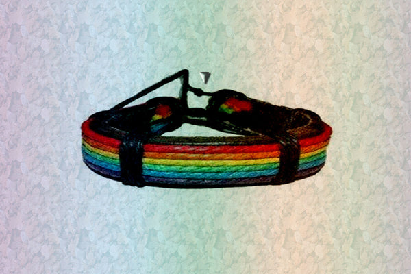 "Gay Pride Rainbow ""You Are You"" Friendship Leather Bracelet"