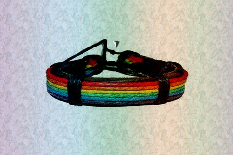 "Gay Pride Rainbow ""You Are You"" Friendship Leather Bracelet $11.95▼"