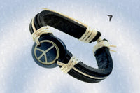 "Peace Sign ""One World"" Leather Bracelet $12.95▼"