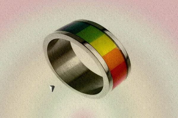 "Gay Pride Rainbow ""Block"" Ring"