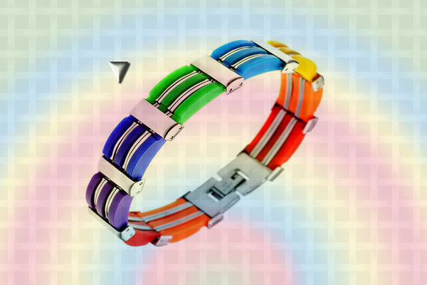 "Gay Pride Rainbow ""Rubber Wide"" Stainless Steel Bracelet"