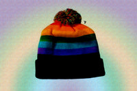Gay Pride Rainbow Beanie Cap With Pom Pom