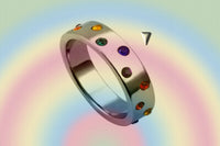 "Gay Pride Rainbow ""Sparkle Stoned"" Ring"