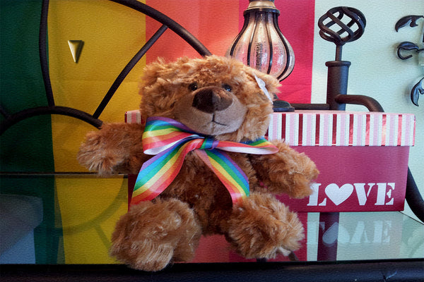 Gay Pride Rainbow Striped Ribbon Teddy Bear