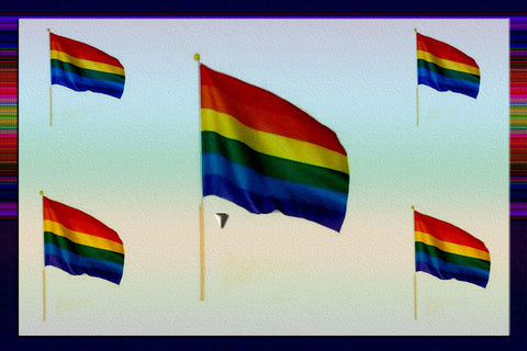"Gay Pride Rainbow 24"" Stick Flag $9.00 Or 4 For $30.00▼"