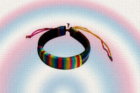 "Gay Pride Rainbow ""Corded"" Leather Bracelet"
