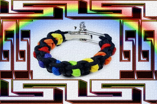 "Gay Pride Rainbow ""Dark"" Paracord Bracelet $12.95▼"