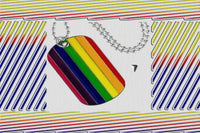 "Gay Pride Rainbow ""Dog Tag"" Pendant Beaded Necklace"