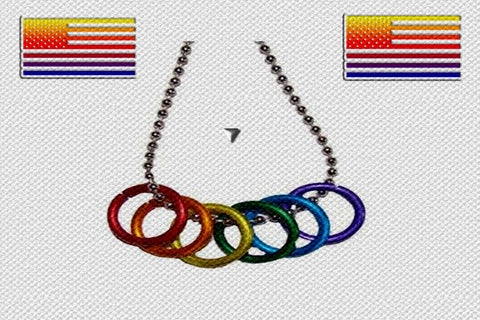 "Gay Pride Rainbow ""Freedom Rings"" Necklace $12.95"