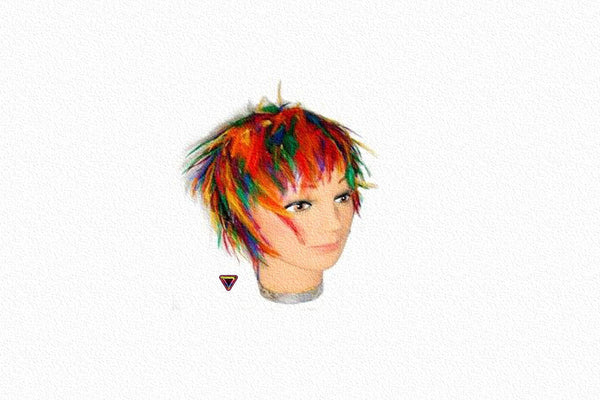 "Gay Pride Rainbow ""Chandelle Rave"" Feather Wig"