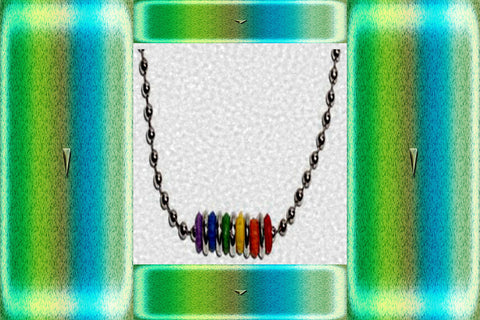 "Gay Pride Rainbow ""Silicone Beaded"" Necklace $10.95▼"