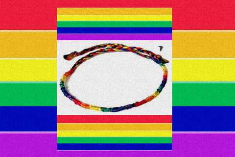 "Gay Pride Rainbow ""Thin Silk"" Bracelet $7.95▼"