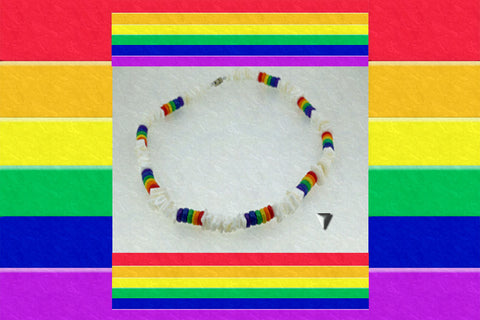 "Gay Pride Rainbow ""Love Comes First"" Necklace $24.95▼"