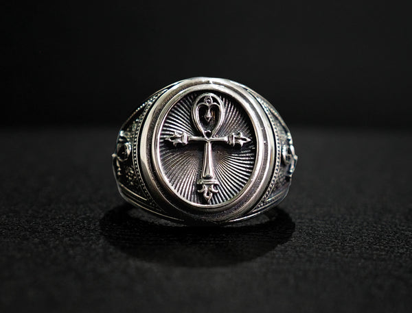 Ankh Ring, Egyptian Ankh Ring, Ankh Key of Life silver Ring Egyptian Jewelry 925 Sterling Silver Size 6-15