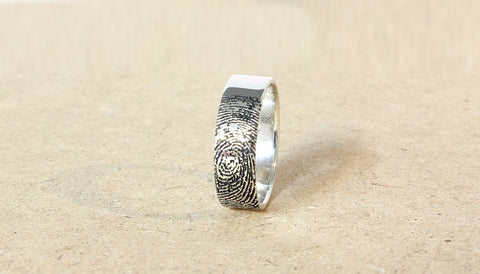 Finger Print Sterling Silver Ring - Fingerprint wedding ring - fingerprint engraved in sterling silver - Custom Ring - finger print ring 6mm