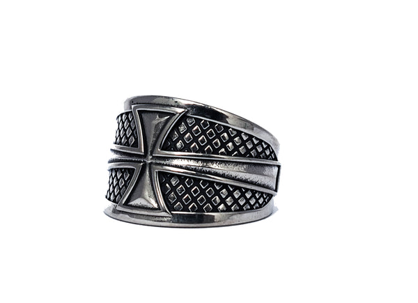 Men's Crusader Knights Templar Iron Cross Ring 925 Sterling silver Size 8-15 (R-24)