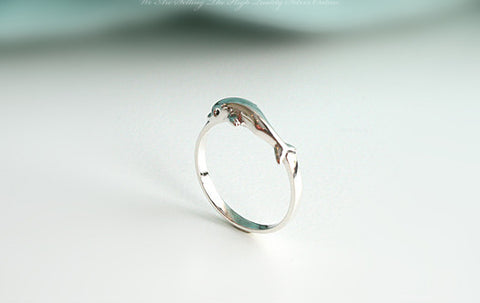 925 Sterling Silver Princess dolphin Ring Dolphin Ball Ring Gift Idea Rocker Gothic Woman Jewelry -  Silver ring (SR-070)